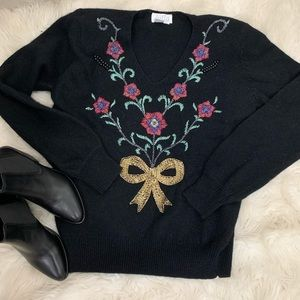 🌛Vintage 80s beaded holiday sweater 🌛